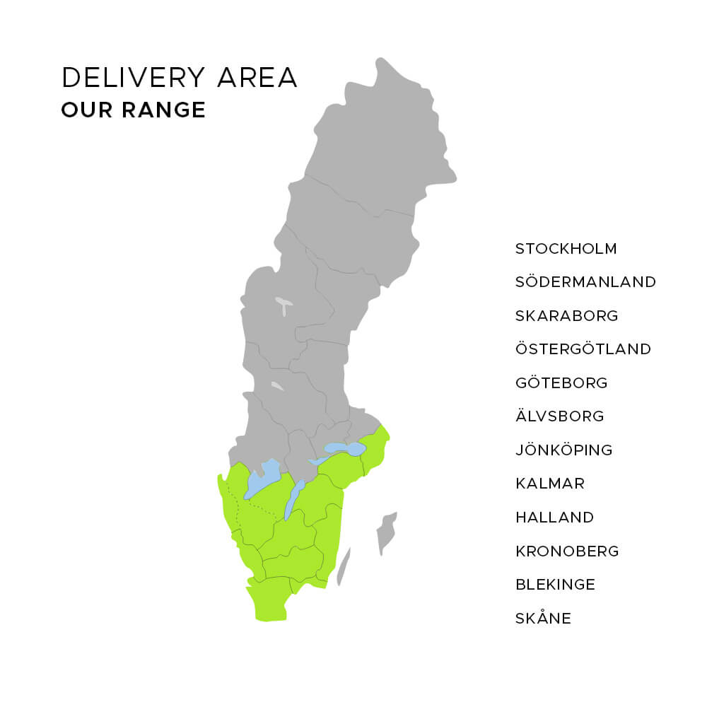 Sweden maps - delivery area